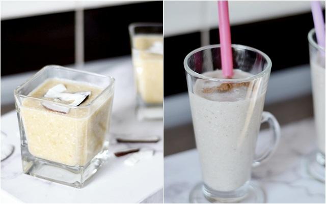 Smoothie owocowo- kokosowy lub bananowo- kokosowy.