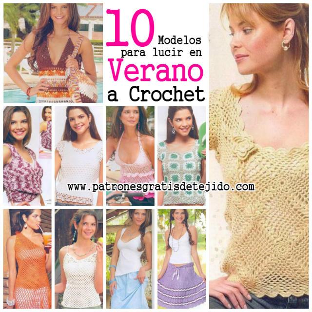10 patrones de blusas y faldas para tejer al crochet