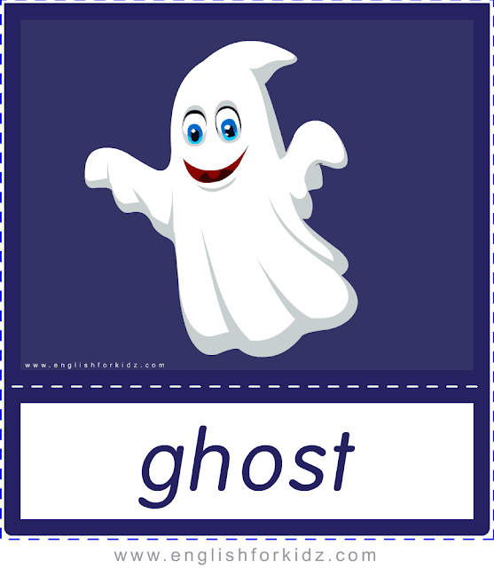 Ghost - Printable Halloween flashcards
