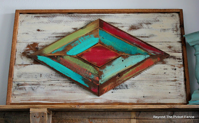 scrap wood makes a large boho rustic art piece