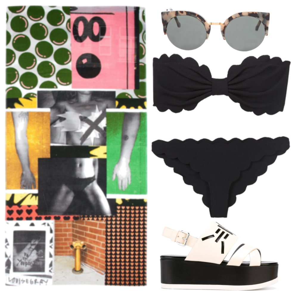couture beach towel sunglasses scalloped bikini chanel