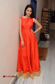 Telugu Actress Divya Nandini Stills in Orange Sleeveless Gown at Chennai Chaitrama Movie le Launch Event  0127.JPG
