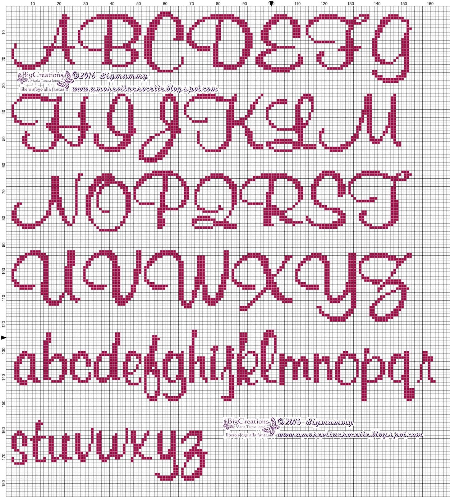 Amorevitacrocette vari alfabeti a punto croce for Alfabeti a punto croce per bambini