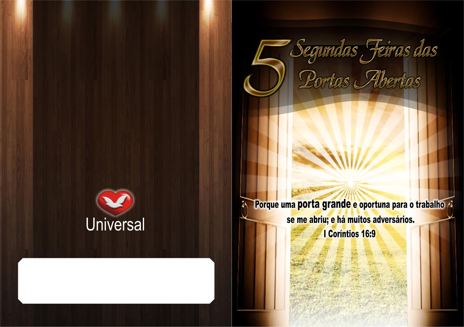 trabalho universal cartela segunda das portas abertas