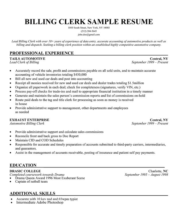 Hotel Clerk Resume Example Good Resume Template  Billing Clerk Resume