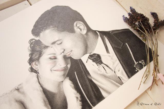 Retrato dibujado de boda