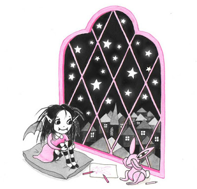 An early drawing of Isadora Moon and Pink Rabbit
