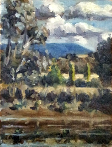 Oil painting of a farm dam bank in the foreground, with a small eucalypt and poplars in the middle ground, and a distant mountain range below a cloudy sky.