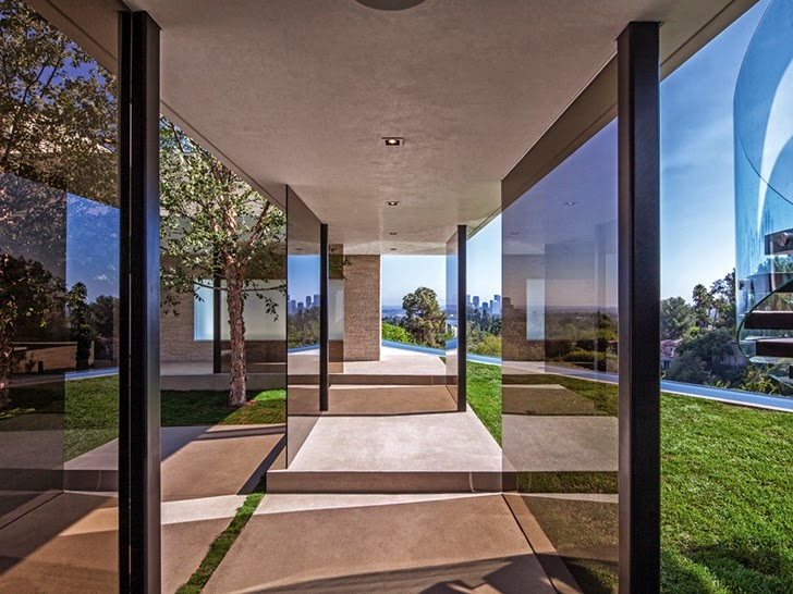 Glass walls in Perfect modern mansion in Beverly Hills