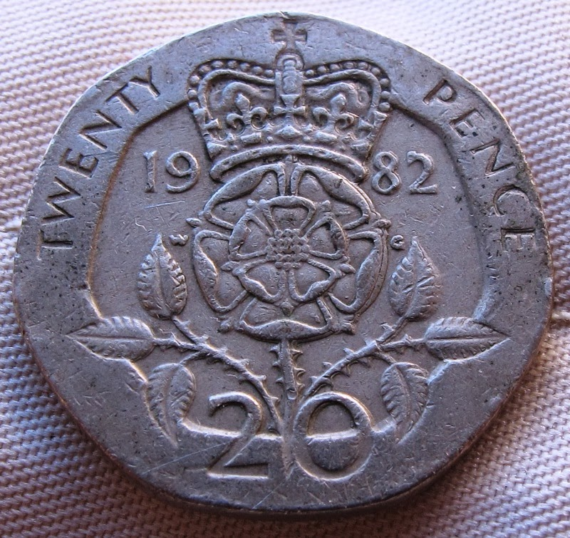 1982 British 20 Pence With Doubling