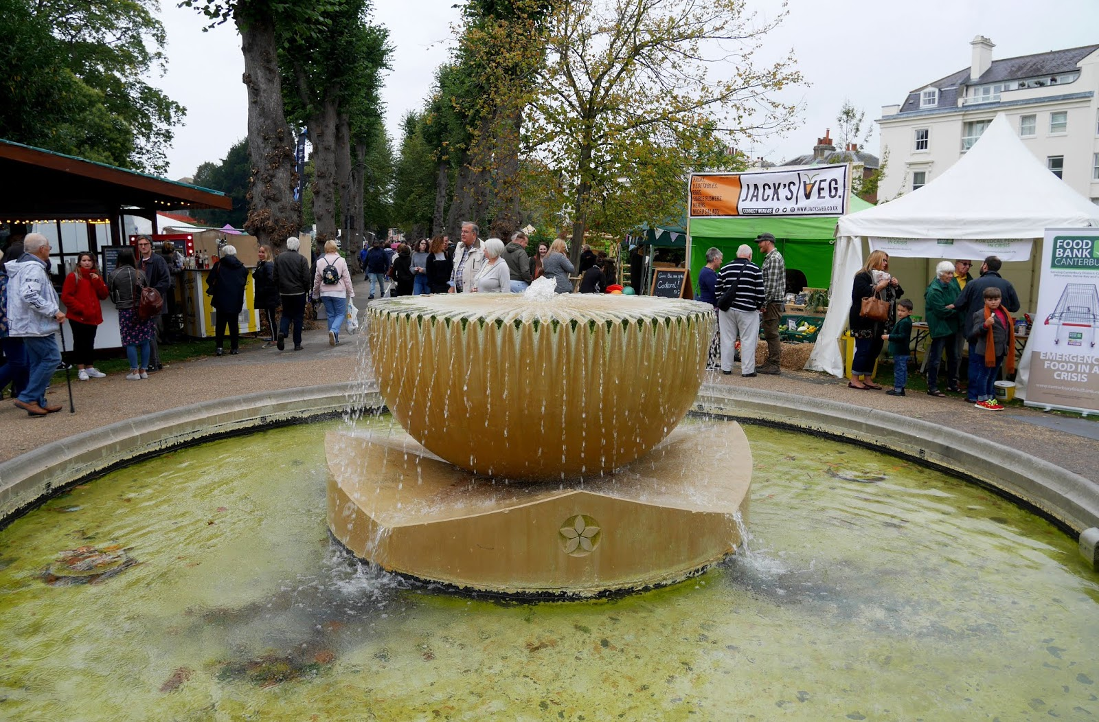The foutain in Dane John Gardens during the Canterbury Food Festival
