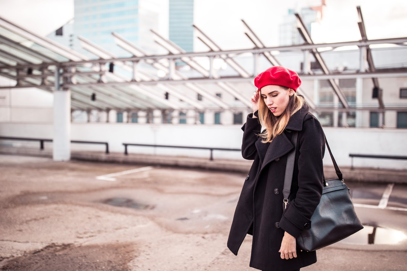 black wool jacket red beret hat outfit fall