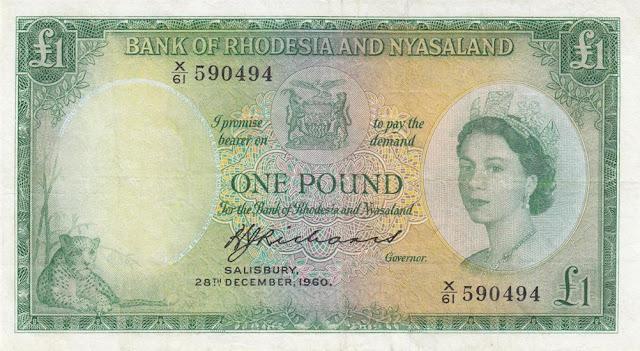 Rhodesia and Nyasaland Pound banknote Queen Elizabeth