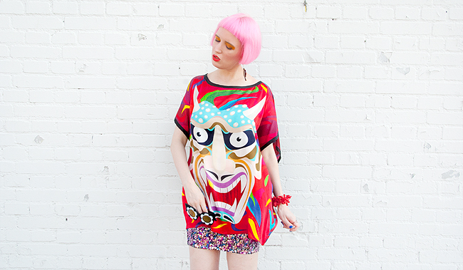 blogger look, quirky fashion, devil print top