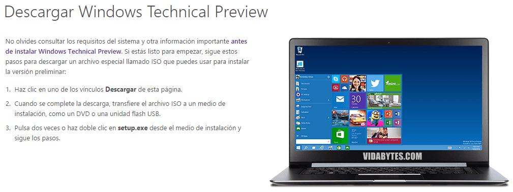 Descargar Windows Technical Preview