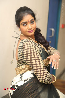Telugu Actress Jayavani Jayavani Stills in Black Saree at Intlo Deyyam Nakem Bhayam Success Meet  0074.JPG