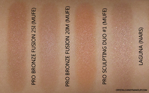 Make Up For Ever Pro Bronze Fusion 20M 25I Swatches Dupe Nars Laguna MUFE