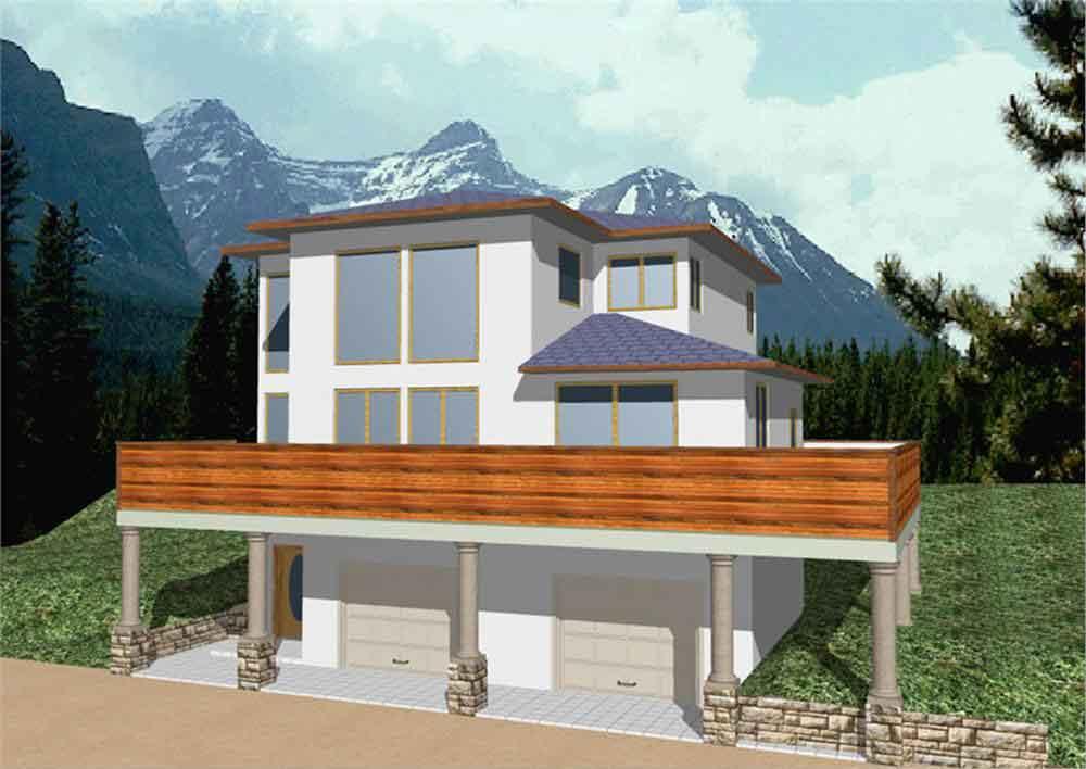 Planos y fachada de una vivienda dise ada en 3 pisos con for Casas modernas 3 recamaras