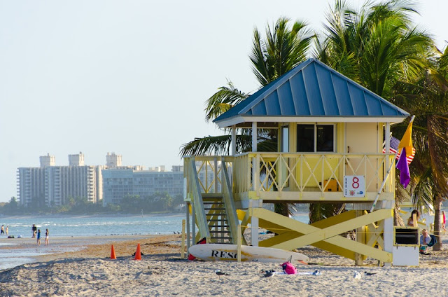 Yellow Life Guard Post at Miami Beach