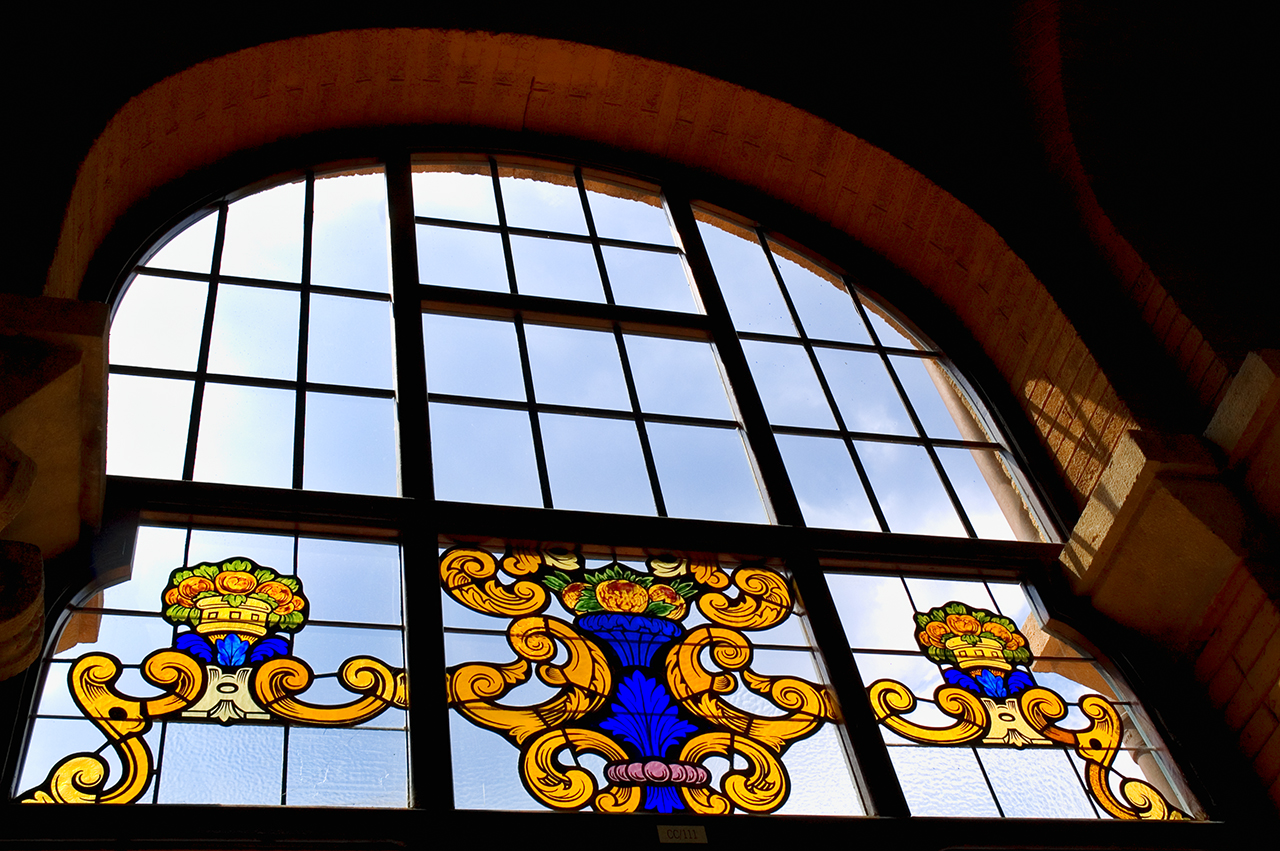 Stained glass window at Casa de Convalescencia, Hospital de Sant Pau, Barcelona
