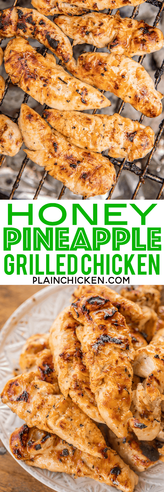 Honey Pineapple Grilled Chicken - crazy delicious!! SO simple and packed full of amazing flavor!! Only 3 ingredients in the marinade - Italian dressing, honey and pineapple juice. Can use chicken tenders, breasts or thighs. We always double the recipe for easy lunches during the week! We actually made it twice last week!! SO good! #chicken #grilling #chickenrecipes #grilled