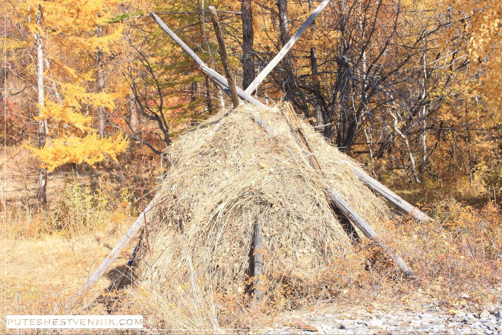Осенний стог с деревянными шестами