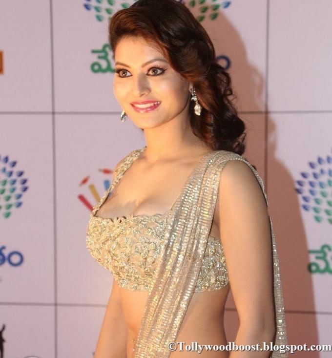 Hindi Model Urvashi Rautela Navel Hip Show Images In Beautiful Dress