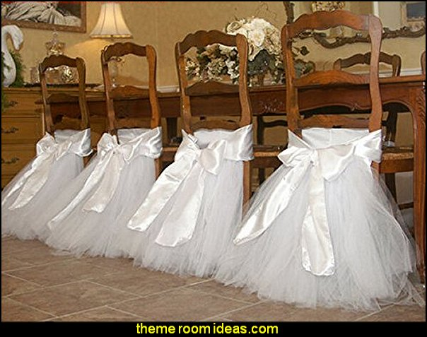Tutu Chair Skirt Wedding Chair Tutu Sash Tutu Cover for Wedding Party