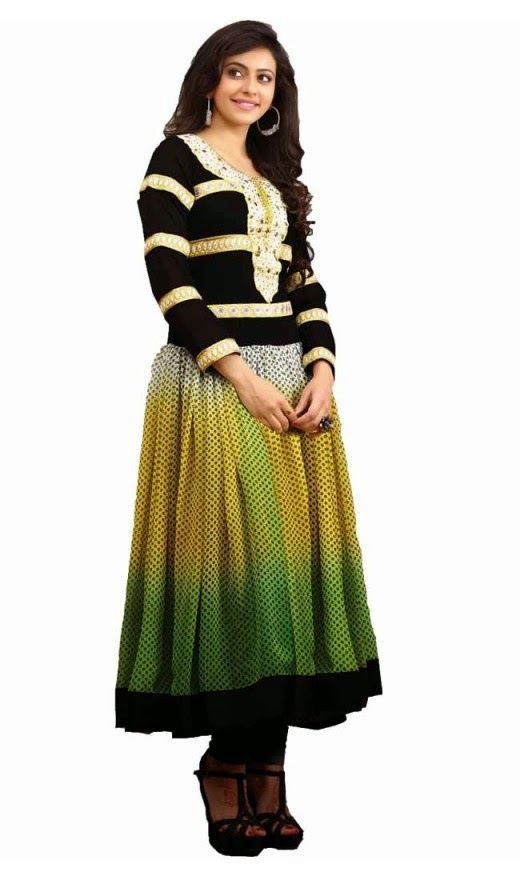 Rakul Preet Plushy Black Green Yellow Salwar Kameez
