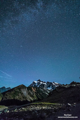 A star-filled sky over Mount Shuksan in the North Cascades, North Cascades National Park, Washington, USA.