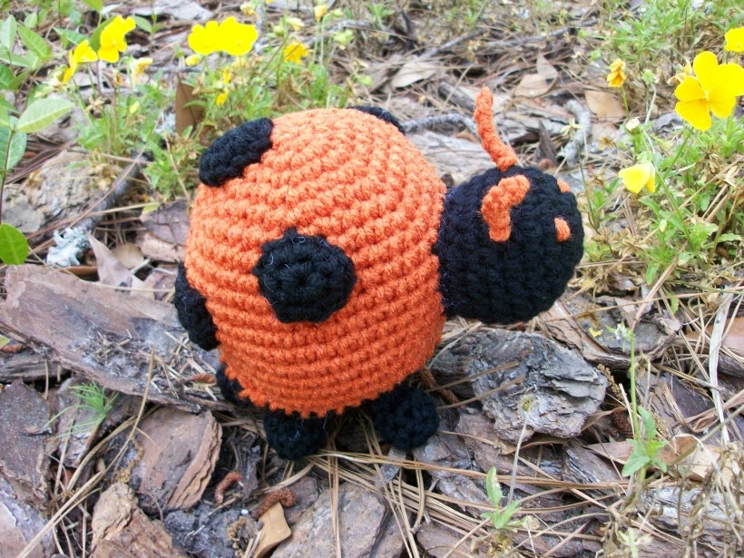 Orange plush ladybug