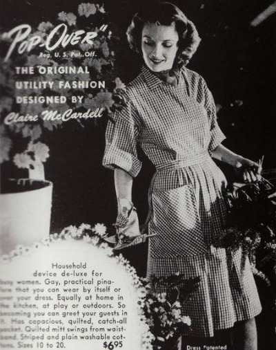 Magazine Ad for Claire McCardell Pop Over Dress showing woman gardening in the dress