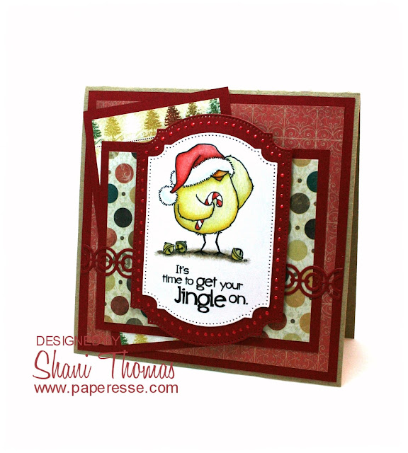 Christmas card featuring It's time to get your Jingle on From the Heart digital stamp, by Paperesse.