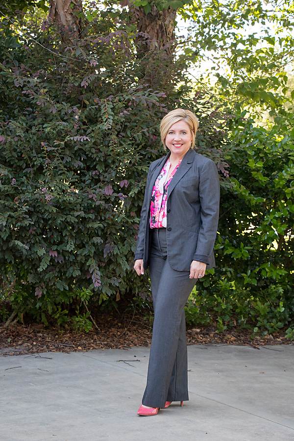 print top, grey suit, womens office outift, coral pumps