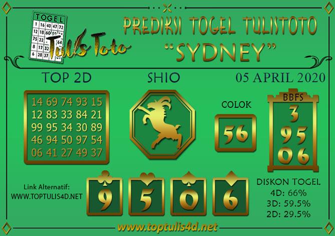 Prediksi Togel SYDNEY TULISTOTO 05 APRIL 2020