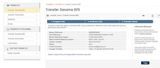 Transfer Berhasil dengan internet banking BRI
