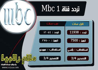 التردد الجديد قناة ام بي سي 1 نايل سات