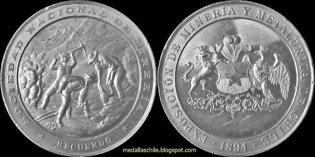 Medalla Exposicion Mineria y Metalurgía 1894