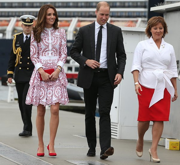Kate Middleton wore Alexander McQueen red white patterned dress, clutch, shoes, red pumps