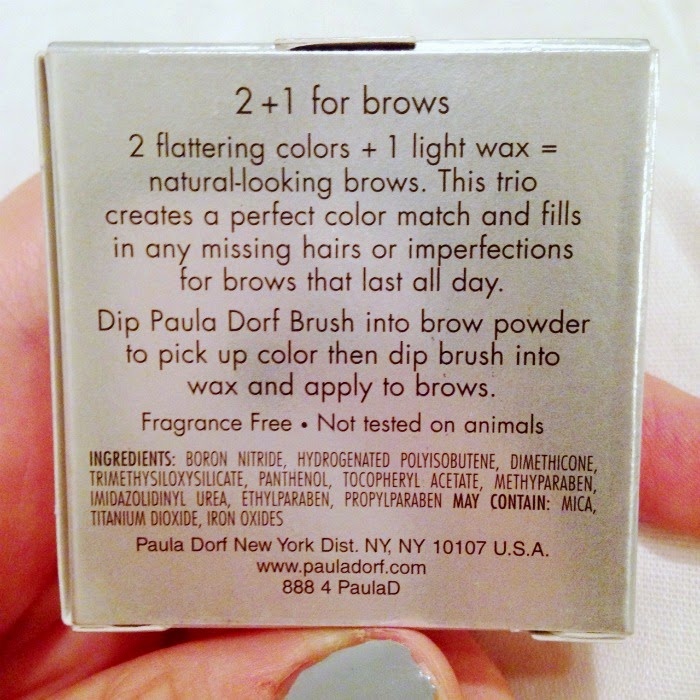 Paula Dorf 2+1 brow set packaging