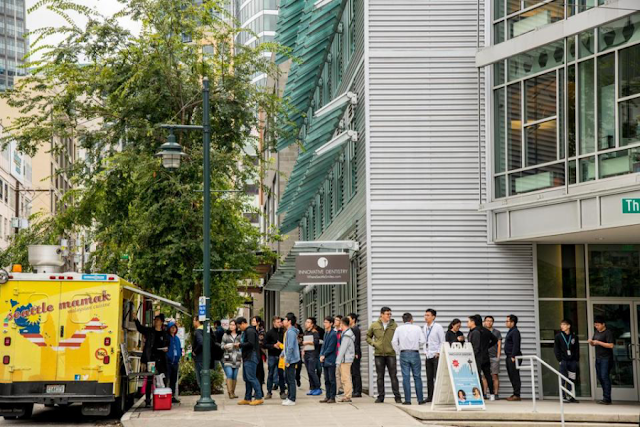 Queue for food trucks at Seattle
