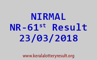 NIRMAL Lottery NR 61 Results 23-03-2018