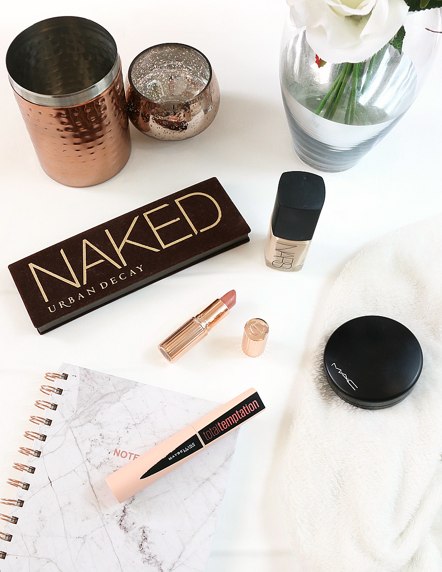 February Favourites including MAC Mineralize Skinfinish Natural, NARS Sheer Glow Foundation, Urban Decay Naked Palette, Maybelline Total Temptation Mascara and Charlotte Tilbury's Bitch Perfect Lipstick