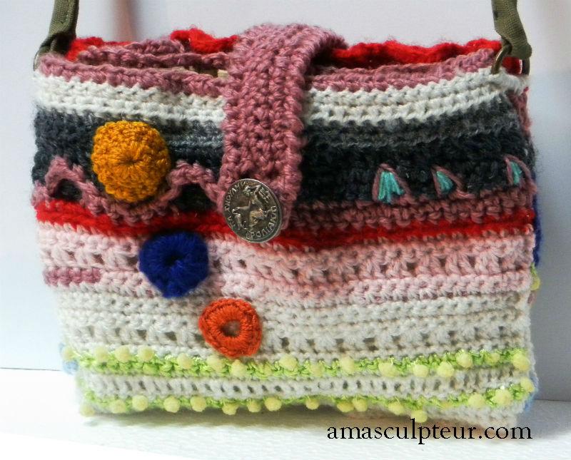 """Sac en laine """" Orion """" réalisé au crochet par Ama"""
