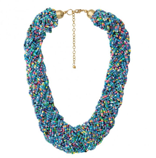 Statetement beaded blue necklace Oliver Bonas