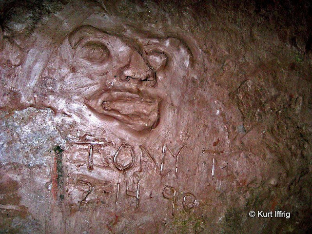 This is a natural clay face sculpted by Tony T back in 1990 in Tunnel 2, Rubio Canyon.