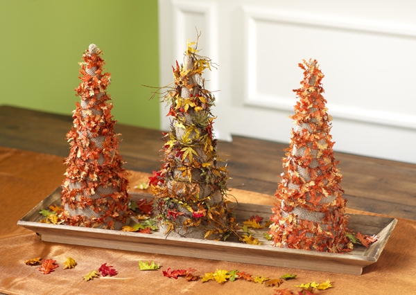 Paper Mache Fall Leaves Cone @craftsavvy @sarahowens #craftwarehouse #papermache #cones #diy #fall