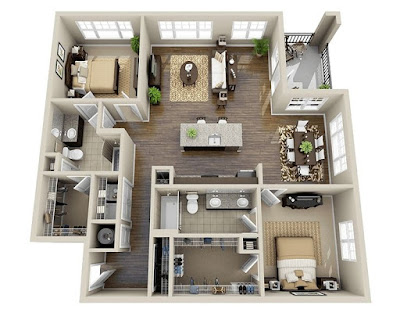 Open 3d floor plans with double bedroom and outdoor balcony