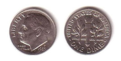 since 1946, the portrait of Roosevelt appears on the obverse of the ten cents coin, the Dime, nickname of a ten cents coin.