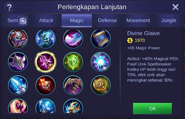 Divine Glaive, Item Ampuh Penembus Magic Defense Di Mobile Legends Bang Bang